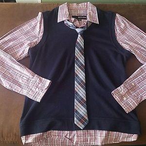 One piece button up vest & tie shirt